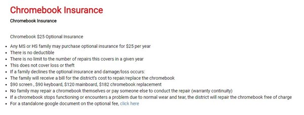 Chromebook Insurance Information